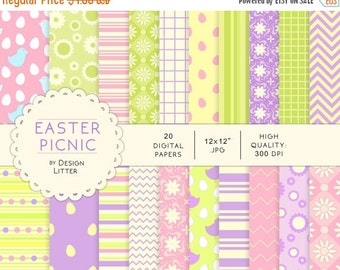 80% Until New Year - Easter digital paper: Easter picnic digital papers, green mint lavender cream violet and white scrapbook Easter paper ·