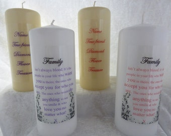 6 Inch - Personalised Birthday Candle, Friend, Best Friend - Family isn't always blood artistic wording