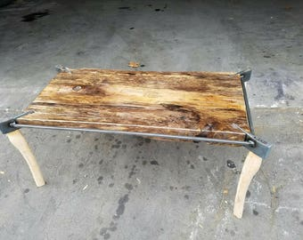 Authentic Oak + Industrial Axe Rustic Coffee Table