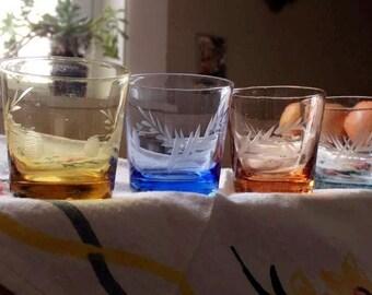 Colorful Vintage Shot Glasses set of Six