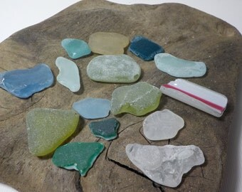 15-Bulk MIX multicolored smoothed sea glass- Genuine Sea Glass - For Jewelry Art- Mosaic Glass#245#
