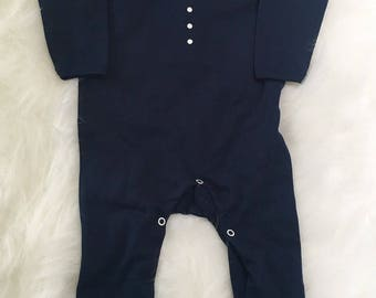Navy Bow Tie Romper Suit for Baby - Weddings, Special Occasion