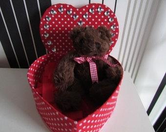 Heart box with teddy bear
