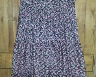 "Lovely St. Michael Black, Pink, Yellow Tiered Tea Dress. True Vintage. 100% Cotton. UK 12 (Bust 34"")"