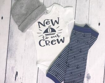 New to the Crew Outfit Nautical Coming Home Outfit Baby Boy Take Home Outfit Newborn Boy Anchor Outfit