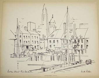 """Lucille Robbie,  Vintage Black and White, """"Fulton Street Fish Markets"""",  Original 1950's Black and White, Cityscape Art, Beautiful Condition"""