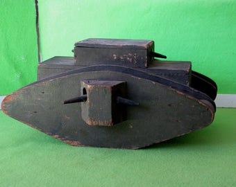 "Folk Art Like Wood WWI Toy Tank, Marked ""US Autocrat Tank"" Likely 1920's"