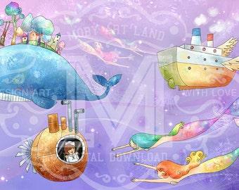 Digital Art download, Children Art, Illustration Art, Mermaid, Boat, submarine, big whale.