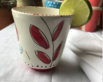 Hand Painted Ceramic Tumbler, Tea Cup, High Ball, Juice Glass, Ready to Ship