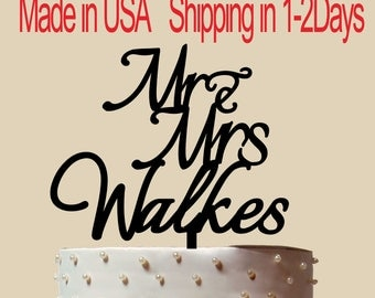 Mr and Mrs Cake topper, Wedding Cake Topper, Acrylic Cake Topper, Personalized Cake Topper With Name and Date, Custom Cake Topper, CT184