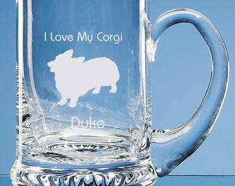 Corgi Glass Tankard Personalised Engraved Gift For Dog Lovers, Corgi Beer Glass, Corgi Gift, Corgi Dog Gift, Corgi Dog Lover Gift, Corgi