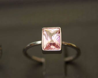 Pink Tourmaline Ring, October Birthstone Ring, Princess Cut Ring, Pink Tourmaline Jewelry, Customized Ring, Customized Jewelry, Silver Rings