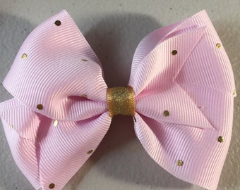 Pink and gold hair bow