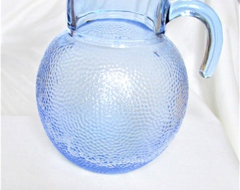 Vintage French Pitcher, water pitchers, blue glass, 1950's French, glass pitchers, bar items