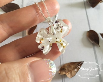 OOAK, bow, precious bow necklace, silver necklace, dried flower resin, flower jewelry, sterling silver plated, Christmas gift, made in Italy