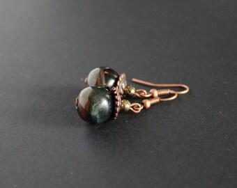 Falcon eye jewelry Big blue tiger eye earrings Pyrite gemstone earrings Positive energy earrings Blue gray jewelry Hawk eye round jewelry
