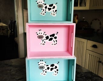 Hand painted yoga zoo storage box, stacking boxes, octopus or cow, checkered, polkadot, baby storage box, unique baby gift,