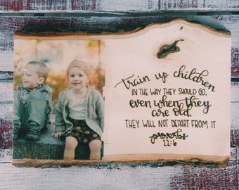 Custom woodburned and photo transferred family sign