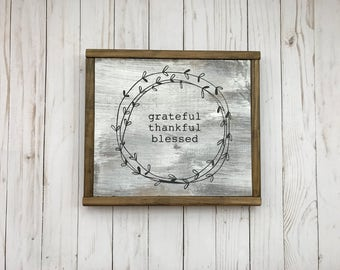 Grateful, thankful, blessed wood sign, laurel wreath, farmhouse white-washed sign
