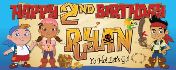 Jake and The Neverland Pirates (2) -Customized-Birthday Banner