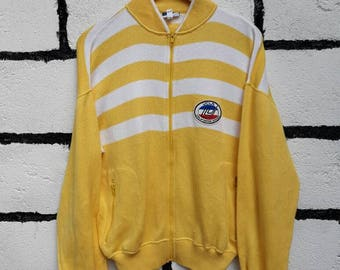 Vintage UCLA Sweatshirt Universal Sport Wear From California Colour Stripes With Double Pocket Full Zip Up Nice Design