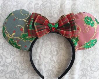 Holly mouse ears, Christmas mouse ears, mouse ears, holly