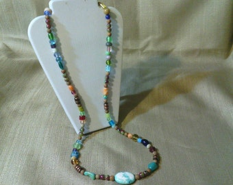 310 Unique Bohemian Style Magnesite Turquoise, Tigerskin Jasper, Lamp Worked Glass Beads, Cane Glass and Marble Style Beads Beaded Necklace