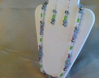 303 Elegant and Colorful Necklace with Silver Accents, Pressed Glass and Jade Style Beads Beaded Necklace