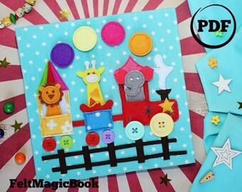 circus train pdf quiet book felt busy book toddler book activity - Toddler Activity Book