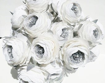 6 Crepe paper flowers Silver White Peonies wedding bouquet Flore de papel crepe paper peonies beautiful centerpiece gift anniversary gift
