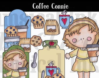 Coffee Connie PNG clipart can be used for planner stickers, scrapbooking, and card making personal and small commercial use ok