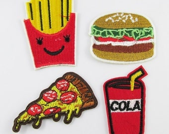 4pce Set Iron on / Sew On Embroidery Cloth Hamburger Pizza Junk Food  Patches