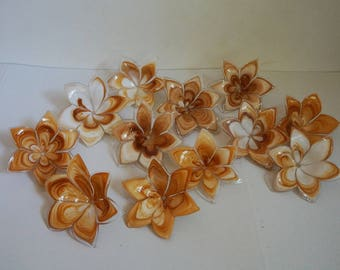 Set of 12 brown and white glass flowers, handmade, parts of a chandelier, vintage architectural salvage for restoration, home decor