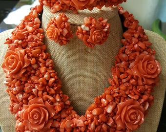Luxury Wire work Original Rose Coral Beads Set/ African Rose Coral Bead Set