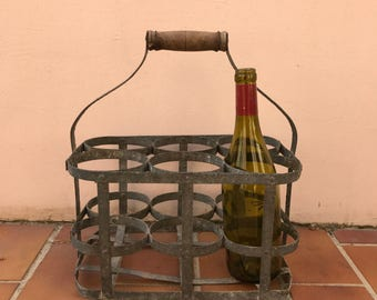 ANTIQUE VINTAGE FRENCH Handmade Metal 6 Bottle Wine Carrier Basket 2703201714
