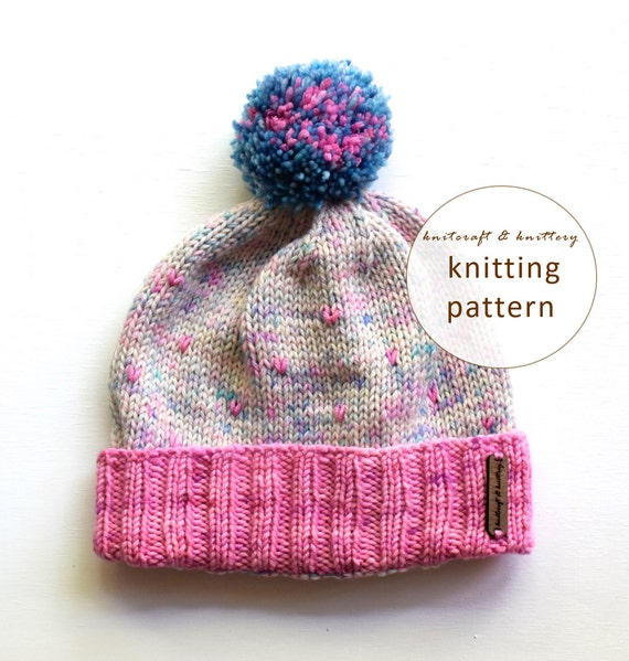 Knitting Beanie Pattern For Beginners : Items similar to Bubble Gum Beanie Pattern // Knitting ...
