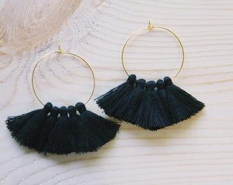 Black Tassel Hoop Fan Earrings