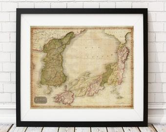 Japan Map Print, Vintage Map Art, Antique Map, Wall Art, Old Maps, Map of Japan, Korea Map, Japanese Art, Korean Art, Map Poster, Map Art