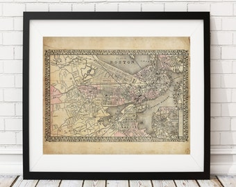 Boston Map, Vintage Map Art, Antique Map Print, Map of Boston, Boston Print, Massachusetts Map, Boston Art, City Map, Housewarming Gift