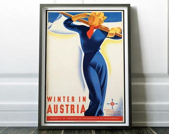 Austria Poster, Austria Print, Wall Art Prints, Skiing Print, Vintage Travel Poster, Travel Print, Austria, Wall Art, Travel Poster, Art