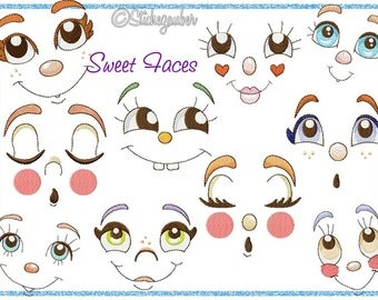 "Sweet faces set 10x10cm / 4 x 4 "", 13x18cm / 5 x 7"", 18x30xm / 7 x 12 '"