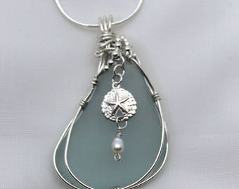 Sterling silver Sea Glass Pendant with Star Fish