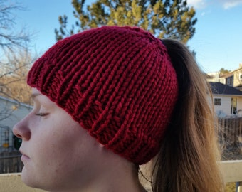 Hand Made, Messy Bun, Ponytail, Chunky, Hand Knit Beanie Hat in Maroon