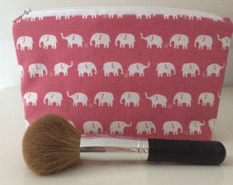 Pink & White Elephant makeup bag, cosmetic bag