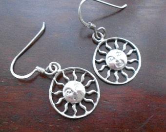 Vintage Sterling Silver Sun Earrings, Drop Earrings on Silver Earwires