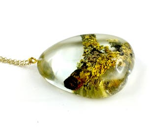 Large drop pendant necklace handmade from branches with moss and resin