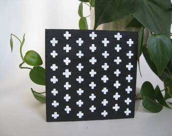 Swiss Cross Pattern, black and white hand painted wood sign