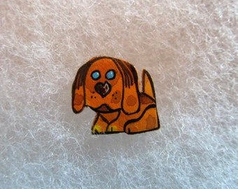 Cute Dog Jewelry Pin - handcarved and handpainted
