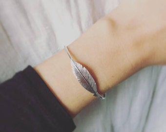 Feather Bangle 925 Silver