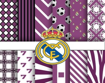 Real Madrid digital paper, Real Madrid scrapbook paper, Real Madrid background